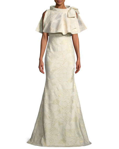 Badgley Mischka Collection Jacquard Popover Bow Trumpet Gown