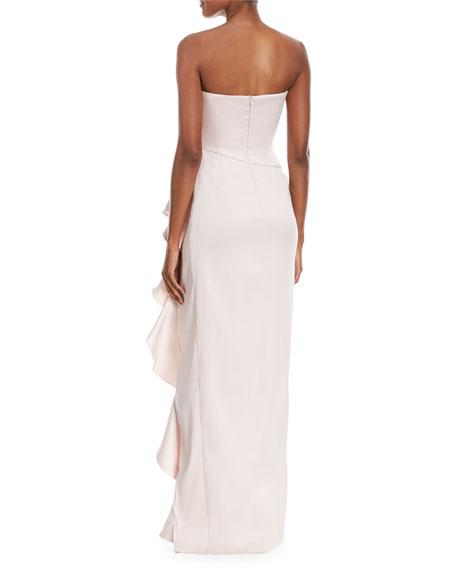 Strapless Sweetheart Asymmetric Ruffle Gown