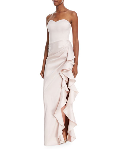 Strapless Sweetheart Asymmetric Ruffle Gown