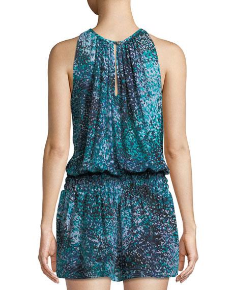 Paris Sleeveless Printed Silk Mini Dress