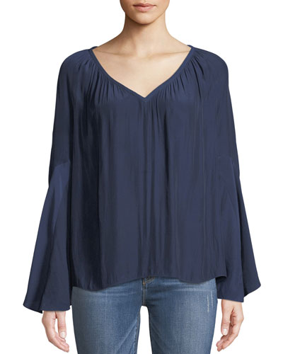 Teagan V-Neck Bell Sleeve Top