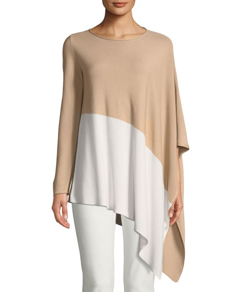 Eileen Fisher Bateau-Neck Asymmetric-Hem Knit Top