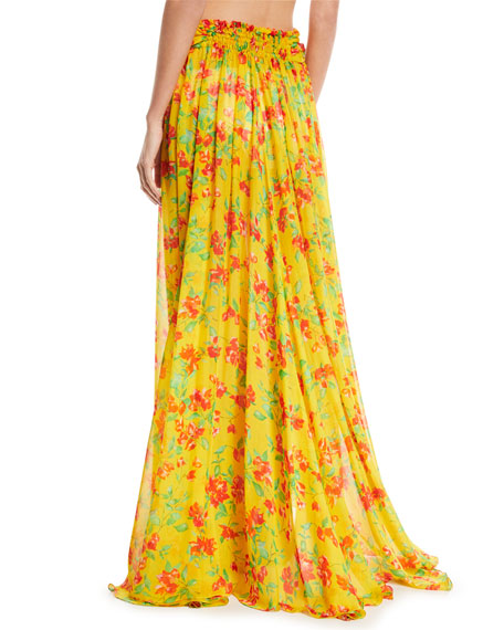 Hera Floral-Print Sheer Coverup Skirt