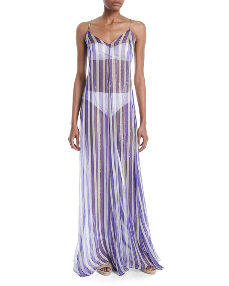 Ares Striped Coverup Maxi Dress