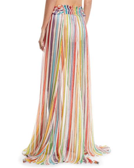 Hera Striped-Print Sheer Coverup Skirt