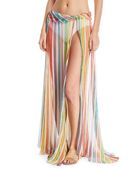 Caroline Constas Hera Striped-Print Sheer Coverup Skirt