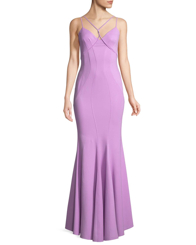 ZAC Zac Posen Regina V-Neck Mermaid Gown | Neiman Marcus