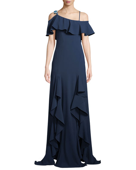 Adie Asymmetric Draped Ruffle Gown, Navy