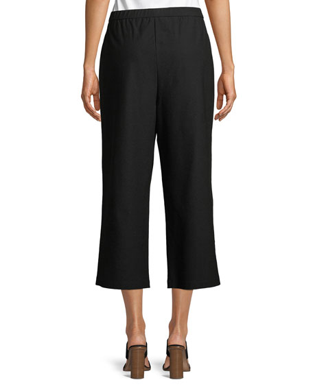 Tie-Front Stretch-Crepe Cropped Pants, Petite
