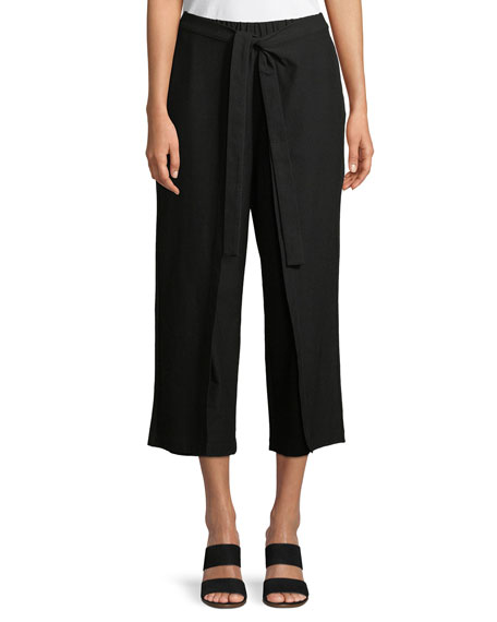 Eileen Fisher Tie-Front Stretch-Crepe Cropped Pants, Petite