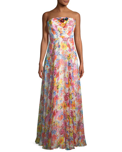 Monica Strapless Floral Silk Gown