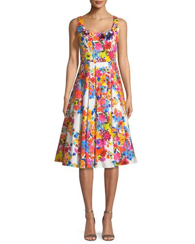 Floral-Print Sleeveless Satin Tea-Length Cocktail Dress