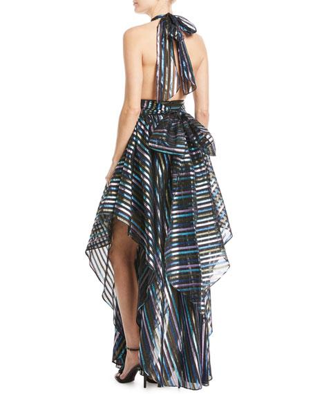 Angie Striped Organza Halter Gown