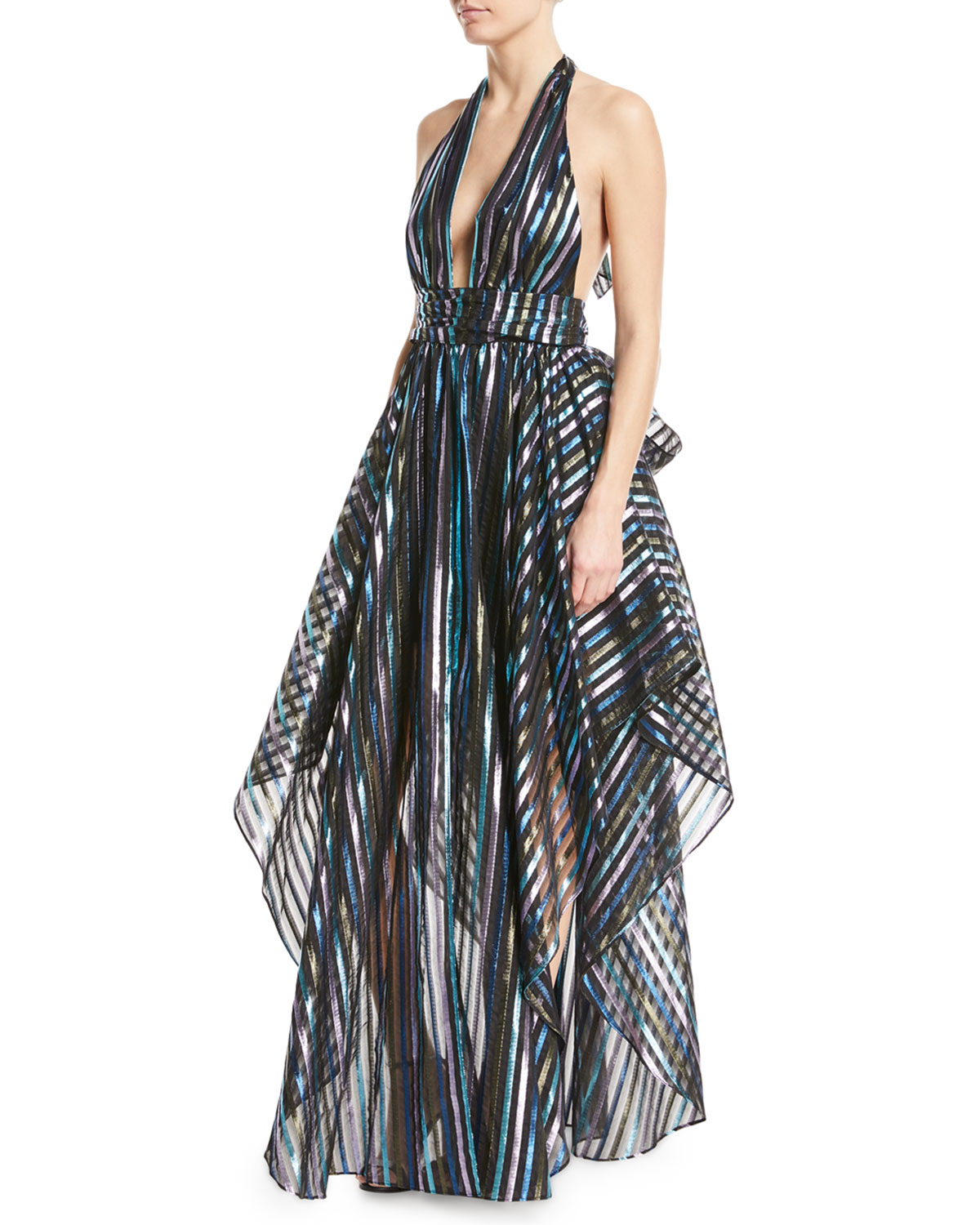 Milly Angie Striped Organza Halter Gown | Neiman Marcus