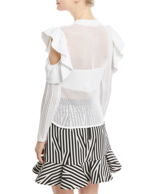 5e2e53b2dfff0e Self-Portrait Frill Cold-Shoulder Open-Knit Top | Neiman Marcus