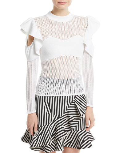 Frill Cold-Shoulder Open-Knit Top