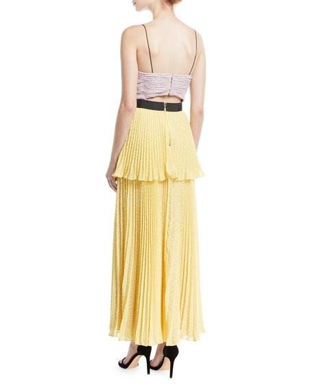 Crinkled Plumetis V-Neck Tiered Cocktail Dress