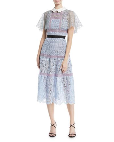 Floral-Lace Guipure Lace Cape Midi Cocktail Dress