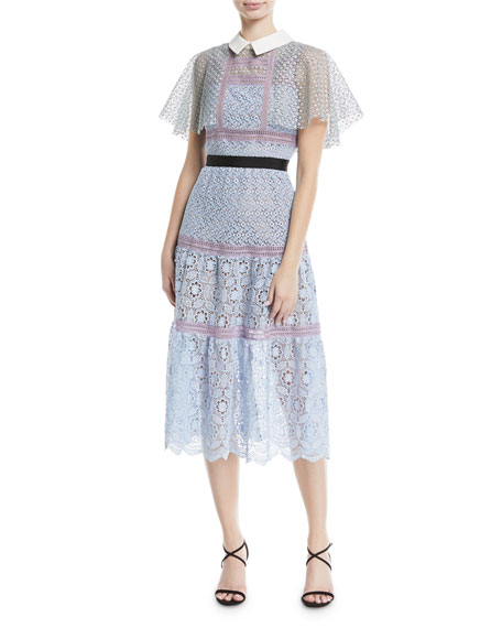 Self-Portrait Floral-Lace Guipure Lace Cape Midi Cocktail Dress