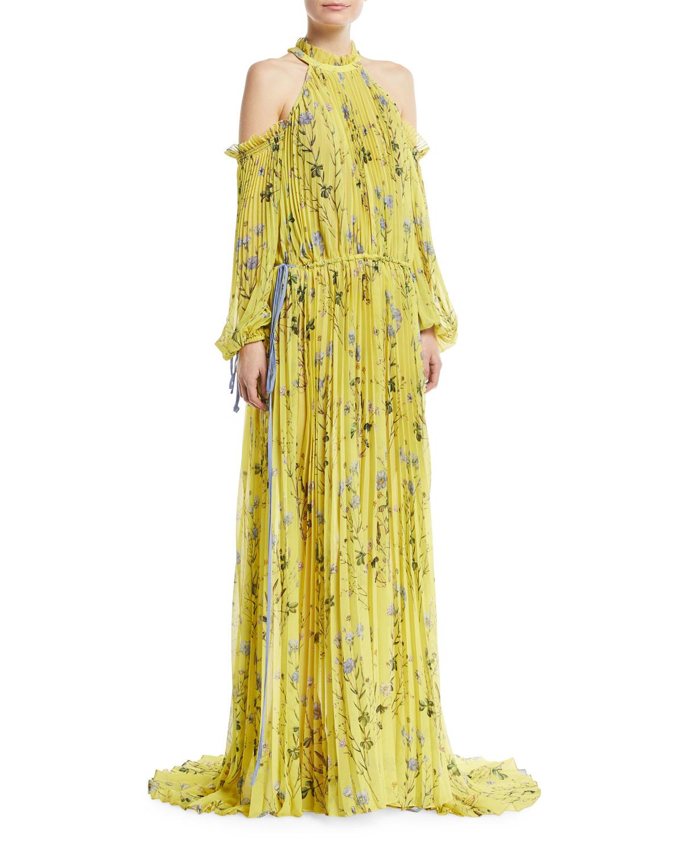 plisado autofloral con Vestido floral noche descubiertos con hombros de estampado 4SEq7