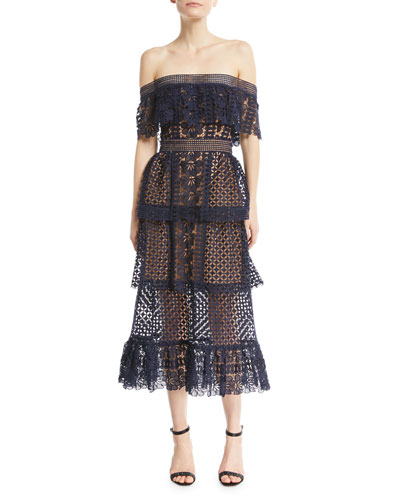 Off-the-Shoulder Lace Guipure Cocktail Dress