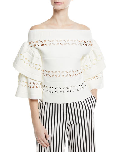 Off-the-Shoulder Cutout Knit Top