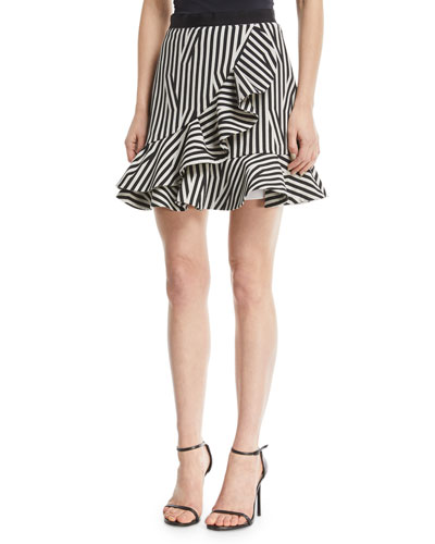 Abstract-Stripe Flared Ruffle Skirt