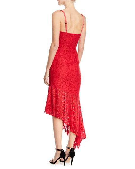 Angelina Sleeveless Asymmetric Stretch Lace Dress