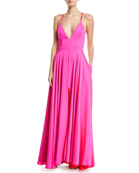 Monroe Stretch-Silk Strappy Gown with Pockets