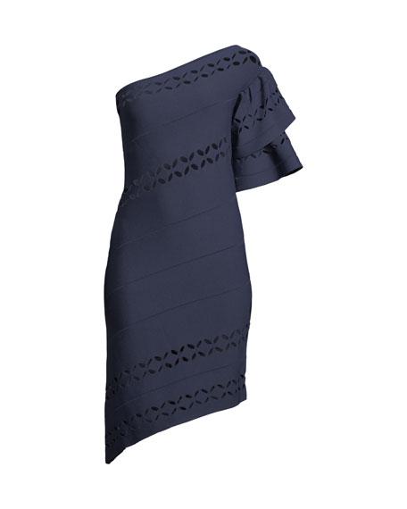 One-Shoulder Asymmetric Cutout Cocktail Dress
