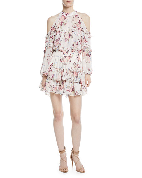 MISA Los Angeles Farren Cold-Shoulder Floral-Print Tiered Mini