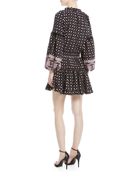 Aurora V-Neck Bell-Sleeve Printed Short Dress