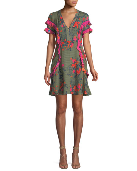 Rhett Falling Floral Print Silk Short Dress by Tanya Taylor