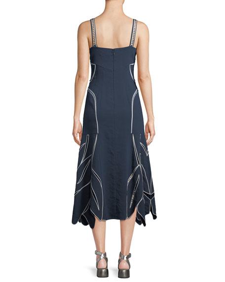 Scarlett Sleeveless Tulip-Embroidery A-Line Midi Dress