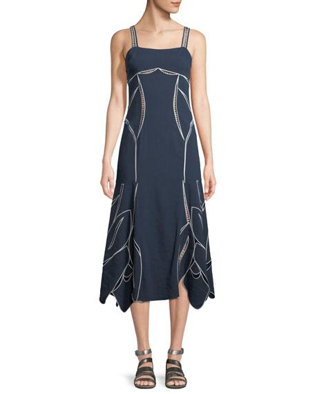 Tanya Taylor Scarlett Sleeveless Tulip-Embroidery A-Line Midi