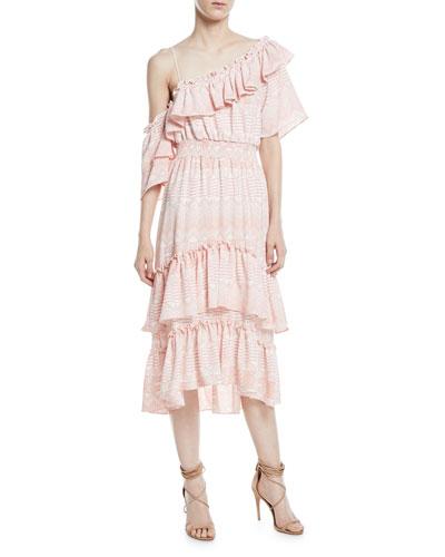 Agata One-Shoulder A-Line Tiered Ruffles Chiffon Dress