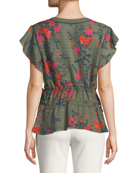Anita V-Neck Floral-Print Silk Top