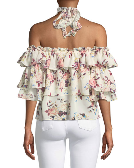 Giselle Off-the-Shoulder Tiered Ruffled Floral-Print Top