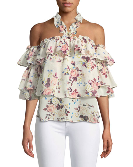 MISA Los Angeles Giselle Off-the-Shoulder Tiered Ruffled