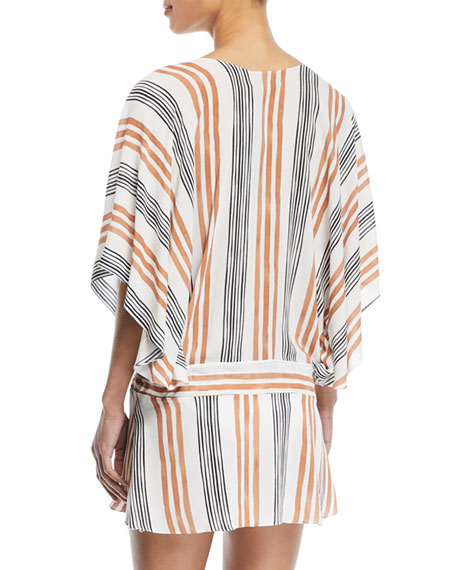 Potosi V-Neck Long-Sleeve Striped Coverup Tunic