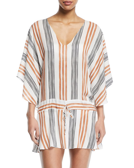 Potosi V-Neck Long-Sleeve Striped Coverup Tunic