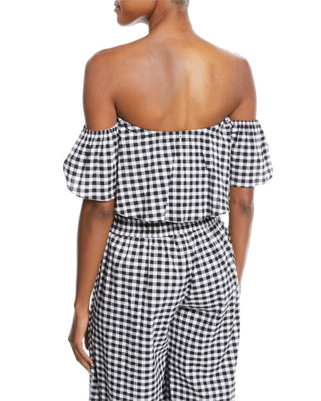 Lunna Off-the-Shoulder Gingham Cotton Crop Top