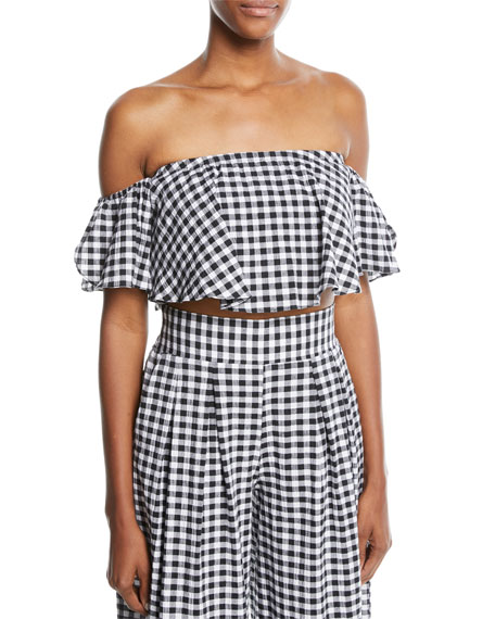 MISA Los Angeles Lunna Off-the-Shoulder Gingham Cotton Crop