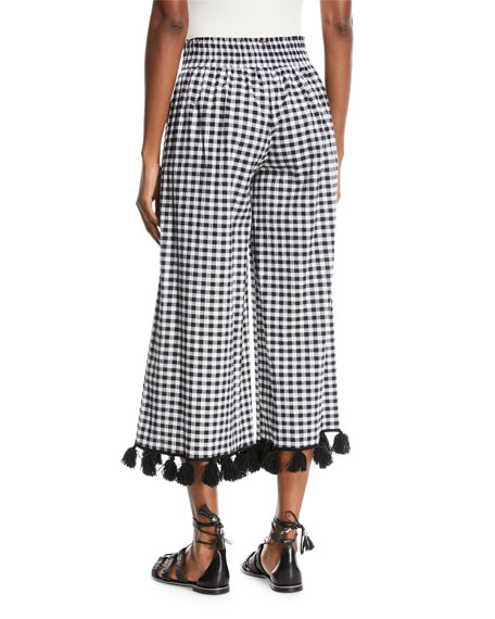 Klavy Wide-Leg Tassel-Trim Gingham Cotton Pants