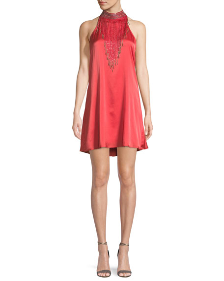 Haute Hippie Wanted Fringe-Neck Mini Cocktail Dress