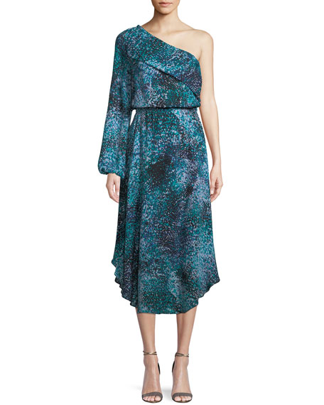 Courtney One-Shoulder Printed Silk Midi Dress