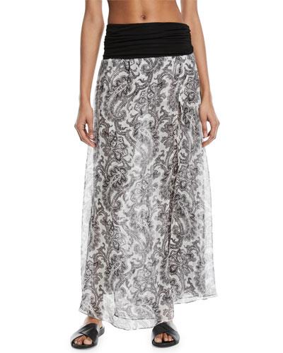 Damask-Print Sheer Silk Maxi Skirt Coverup
