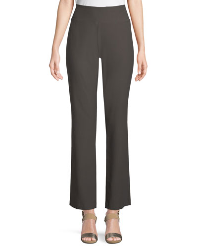 Stretch Crepe Boot-Cut Pants