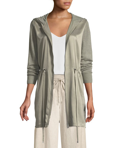 Lustrous Linen Hooded Cardigan with Charmeuse Front