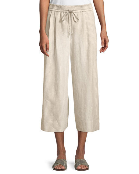 Lafayette 148 New York Reade Striped Wide-Leg Crop